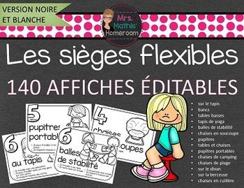 B&W Flexible Seating French Posters (Editable) - Les siège