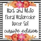 B&W Floral Watercolor Decor Pack - Cursive Edition