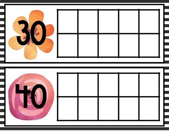 B&W Floral Watercolor Tens Frames for Counting Days in School