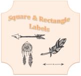 B/W LABELS - Dreamcatcher Arrows Leaf