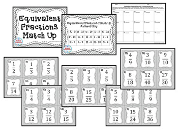 B&W Matching Card Sets Fractions Decimals & Percents - 3 sets!