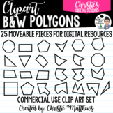 B&W Polygons Moveable Pieces for Digital Perimeter & Area Resources