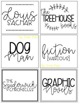 B&W/W&B Library Bin Labels (READY TO PRINT)