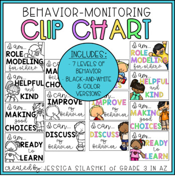Positive Minded Clip Chart: Behavior Monitoring Visual (B+W & Color!)