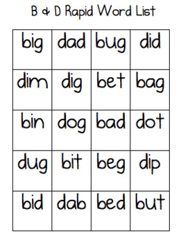 B and D Rapid Word List
