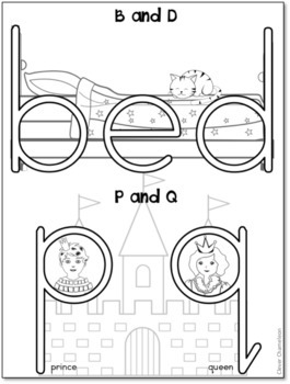 B and D and P and Q Posters and Coloring Page