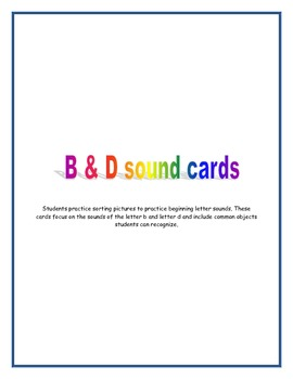 B and D beginning sound cards