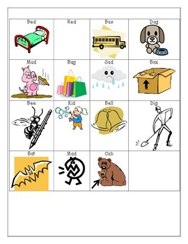 B and D picture and word sort
