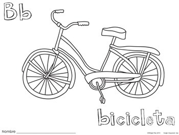 Letter B Bicicleta Coloring Pages {Spanish Alphabet}