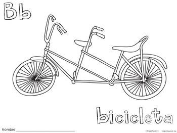 Letter B Bicicleta Coloring Pages {Spanish Alphabet}