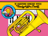 Bb to Concert Pitch Transposition Chart for Treble Clef TC Baritone