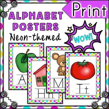 Neon Polka Alphabet Posters