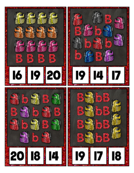 B is for Backpack Counting Clip Cards Math Center ~ They Sparkle ~ Count to 20