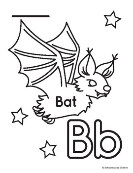 Letter B For Bat Coloring And Trace Sheet By Schoolhouse Sisters