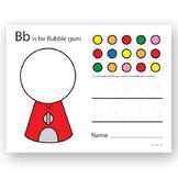 B is for Bubblegum Preschool worksheet