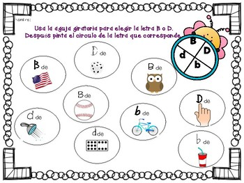 B vs D Spanish spinner/bump, dice and graphing activities