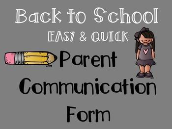 B2S Classroom Communication Form