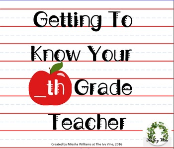 B2S-Getting To Know Your Teacher - SMARTnotebook