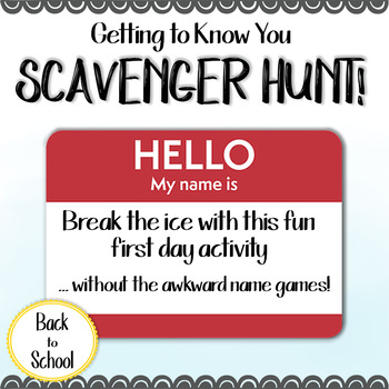 Back to School Icebreaker: Getting to Know You Scavenger Hunt