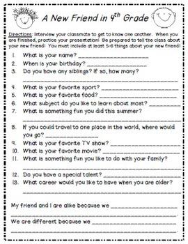 B2School Activity: Interview a Classmate (4th-6th grades)