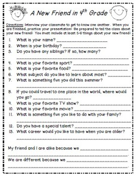B2School Activity: Interview a Classmate (4th-6th grades)