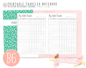 b6 habit tracker traveler notebook refill by robin printables tpt