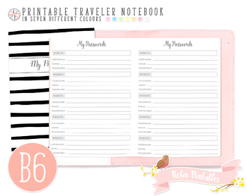 B6 Password Log Traveler Notebook Refill