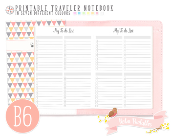 B6 To Do List Traveler Notebook Refill