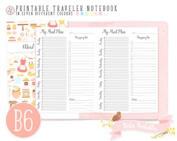 B6 Weekly Meal Plan Traveler Notebook Refill