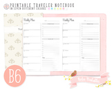 B6 Weekly Planner Traveler Notebook Refill