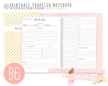 B6 Work Day Traveler Notebook Refill