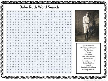 Babe Ruth Worksheet | Babe Ruth Word Search | Babe Ruth Wordsearch