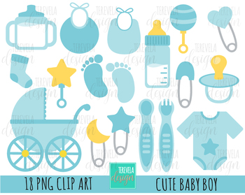 BABY BOY clipart, baby clipart, bottle, baby items
