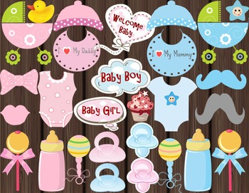 BABY SHOWER Photo booth Props Baby Beanie, Dummies/Pacifiers, Bibs and more