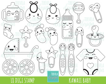 BABY digi stamp, baby items black and withe