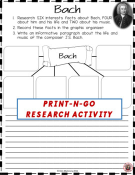 Music Composer: BACH Music Composer Study and Worksheets