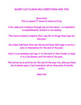 BACK TO SCHOOL 1st day Dear Self Reflection Letter - Bucket List
