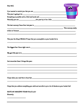 BACK TO SCHOOL 1st day Dear Self Reflection Letter - Bucket List