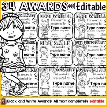 BACK TO SCHOOL 26 EDITABLE AWARDS {BLACKLINE} END OF YEAR/