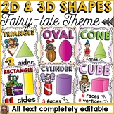 FAIRYTALE CLASS DECOR: EDITABLE 2D AND 3D SHAPES: POSTERS