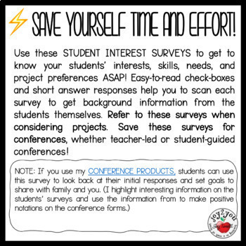 Student Interest Inventories for projects and learning enrichment