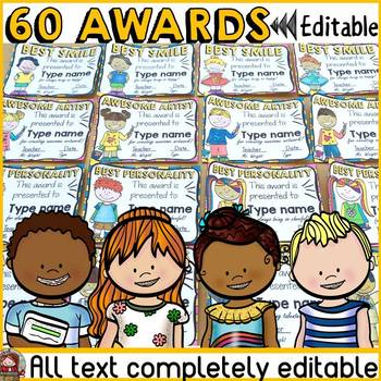 BACK TO SCHOOL 52 EDITABLE AWARDS {END OF SEMESTER/END OF YEAR}