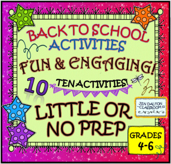 BACK TO SCHOOL ACTIVITIES FOR BIG KIDS