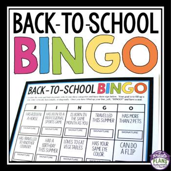 BACK TO SCHOOL ACTIVITY: BINGO