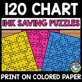BACK TO SCHOOL ACTIVITY SECOND GRADE MATH (120 CHART PUZZLES INK SAVING CENTER)