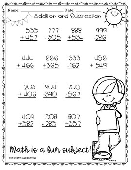 BACK TO SCHOOL ADDITION, SUBTRACTION, ROUNDING