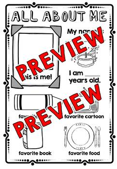 ALL ABOUT ME POSTER KINDERGARTEN (FIRST DAY OF SCHOOL ACTIVITY SPECIAL EDUCATION