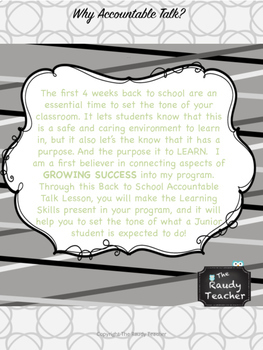 BACK TO SCHOOL Accountable Talk Lesson