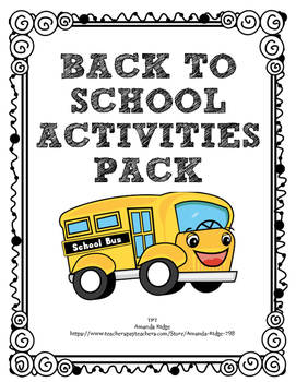 BACK TO SCHOOL Activities Pack!