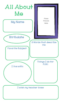 BACK TO SCHOOL:  All About Me Posters